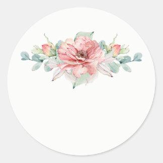 Watercolor-Blumen-Gastgeschenk Hochzeits-Aufkleber Runder Aufkleber
