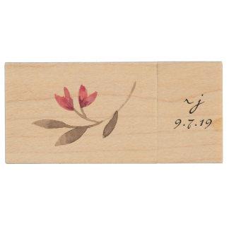 Watercolor-Blumen-Hochzeits-Foto USB-Antrieb Holz USB Stick