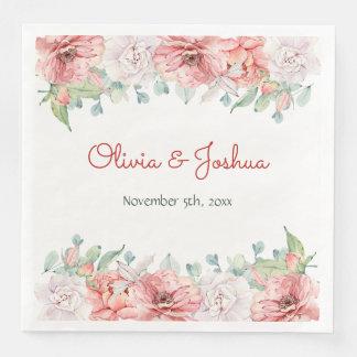 Watercolor-Blumen-Hochzeits-Servietten Papierservietten