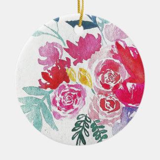 Watercolor-Blumen Keramik Ornament
