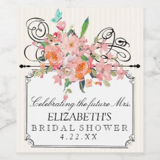 Watercolor-Blumen mit Streifen-Brautparty Weinetikett