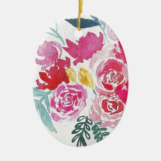 Watercolor-Blumen Ovales Keramik Ornament