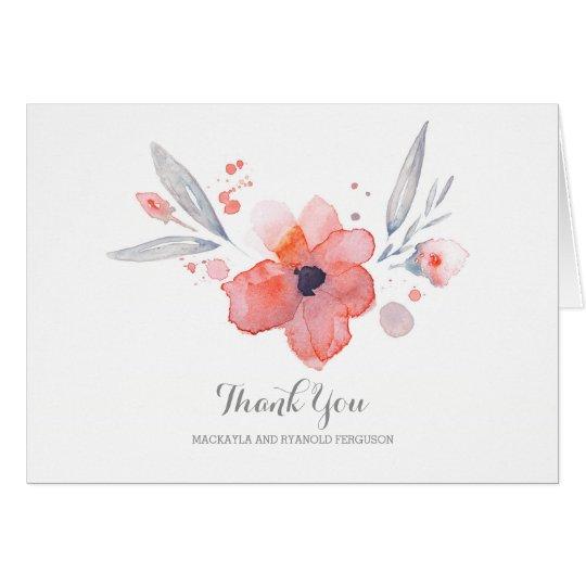 Watercolor-Blumen-romantische Hochzeit danken Karte