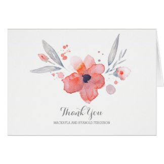 Watercolor-Blumen-romantische Hochzeit danken Mitteilungskarte