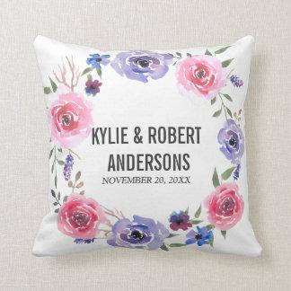 Watercolor-Blumen-Rosa-violette Kissen