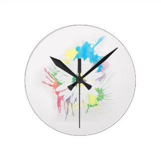 Watercolor-Blumen-Silhouette-Wand-Uhr Runde Wanduhr