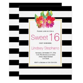 Watercolor-Blumen, Streifen-16. 12,7 X 17,8 Cm Einladungskarte