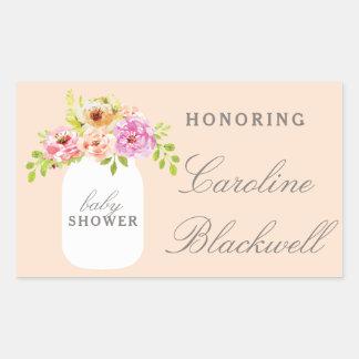 Watercolor-Blumen-u. Maurer-Glas-Baby-Dusche Rechteckiger Aufkleber