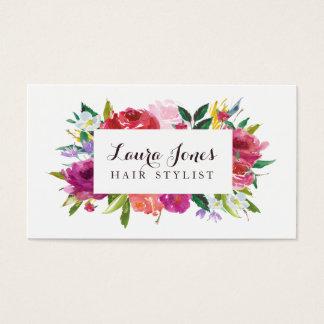 Watercolor-Blumenhaar-Stylist-Verabredungs-Karten Visitenkarten