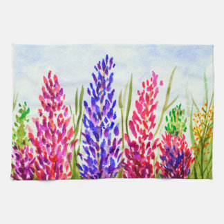 Watercolor-Blumenkunstlupine-Wildblumen lila Handtuch