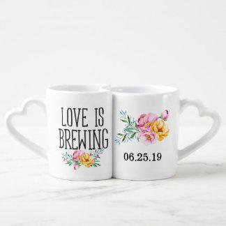 Watercolor-BlumenLiebe braut Hochzeit Paartassen