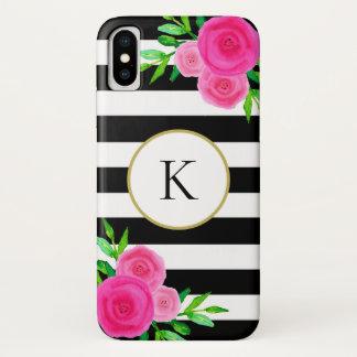 Watercolor-Blumenmonogramm-Schwarz-weißes iPhone X Hülle