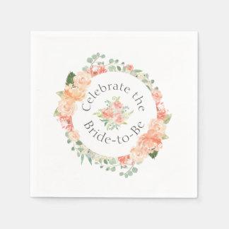 Watercolor-Blumenring-Brautparty Serviette