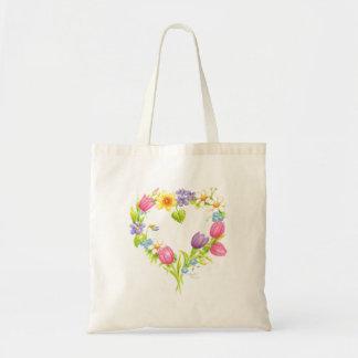 Watercolor-BlumenTasche Budget Stoffbeutel