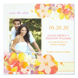 Watercolor-botanisches Hochzeits-Foto Save the Quadratische 13,3 Cm Einladungskarte