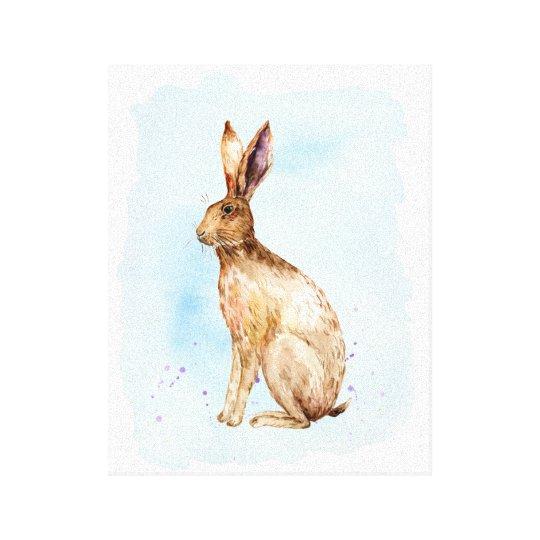 Watercolor-Brown-Hase-Porträt-Leinwand-Druck Leinwanddruck