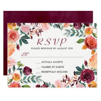 Watercolor-Burgunder orange rosa BlumenWreath UAWG 8,9 X 12,7 Cm Einladungskarte