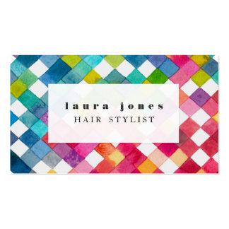 Watercolor Checker Pattern Hair Stylist Template Visitenkarten