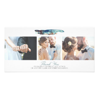 Watercolor-danken moderne Strand-Foto-Hochzeit Karte