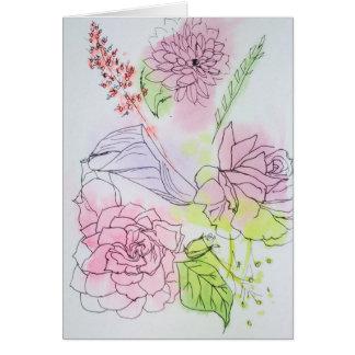 Watercolor, der BlumenMitteilungskarten malt Karte