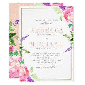 Watercolor, der | Frühlings-Lavendel, Rose u. Gold Karte