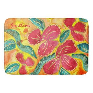 Watercolor, der tropisches rotes Hibiskus-Gold Gli Badematte