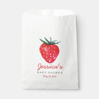 Watercolor-Erdbeerpersonalisierte Baby-Dusche Geschenktütchen
