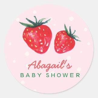 Watercolor-Erdbeerpersonalisierte Baby-Dusche Runder Aufkleber