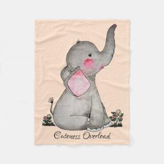 Watercolor-erröten niedlicher Baby-Elefant mit u. Fleecedecke