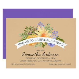 Watercolor-Fall-Blumen-stilvolles Brautparty Karte