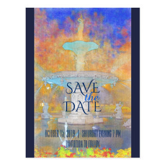 Watercolor Forsyth Brunnen nachts Save the Date Postkarte