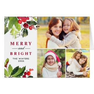 Watercolor-Foto-Collage des Weihnachtenblumen  Karte