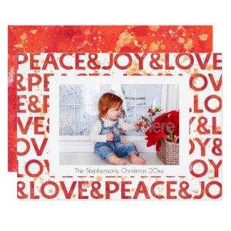Watercolor-Friedensweihnachtsfeiertags-Foto-Karte 12,7 X 17,8 Cm Einladungskarte
