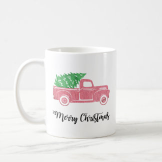 Watercolor-frohe Weihnacht-LKW mit der Baum-Tasse Tasse
