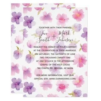 Watercolor-Frühlings-Blumen. Hochzeits-Einladung Karte