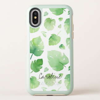 Watercolor-Grün-Blätter. Addieren Sie Namen oder OtterBox Symmetry iPhone X Hülle