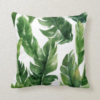 Watercolor-grünes tropisches Blätter-Muster Kissen