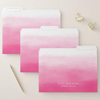 Watercolor-heißes Rosa Ombre personalisierter Papiermappe