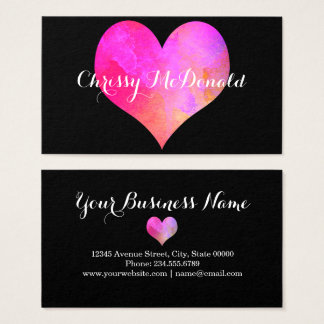 Watercolor-Herz mit personalisierten Informationen Visitenkarte