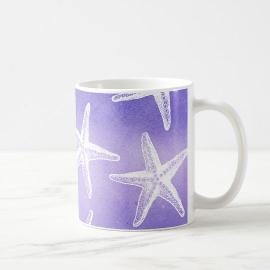 Watercolor-Kaffee-Tasse - Starfish lila Kaffeetasse