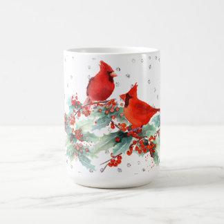 Watercolor-Kardinal auf Niederlassungs-silbernen Kaffeetasse