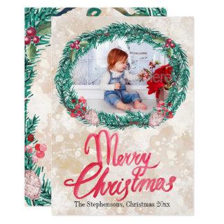 Watercolor-Kieferwreath-frohe Weihnacht-Foto 12,7 X 17,8 Cm Einladungskarte