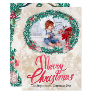 Watercolor-Kieferwreath-frohe Weihnacht-Foto Karte