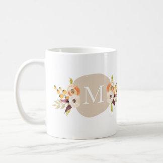 Watercolor-Land-Blumenmonogramm-Geschenk-Tasse Tasse