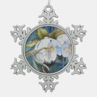 Watercolor-Lenten Rosen-Schneeflocke-Verzierung Schneeflocken Zinn-Ornament