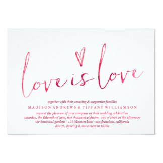 Watercolor-Liebe ist Liebe-homosexuelle 12,7 X 17,8 Cm Einladungskarte