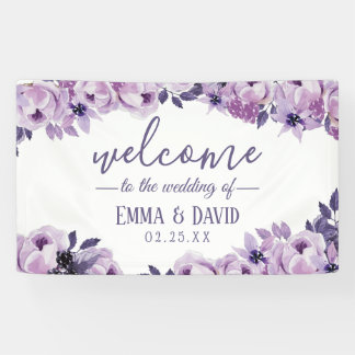 Watercolor-lila elegantes Hochzeits-mit Banner