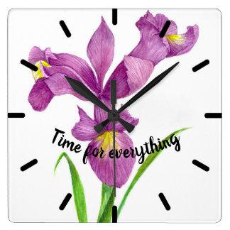 Watercolor-lila Iris-botanische Blumenkunst Quadratische Wanduhr