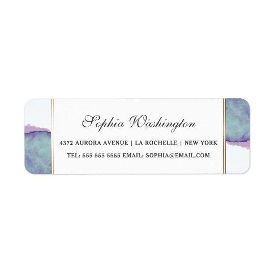 Watercolor lila u. Goldgrenzhochzeits-Adresse Rücksendeetikett