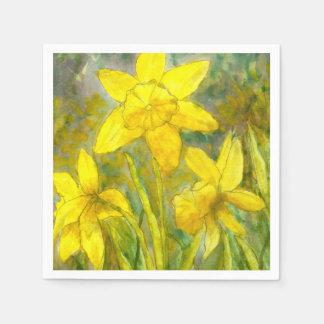 Watercolor-Malerei, gelbe Blumen-Kunst, Narzissen Serviette